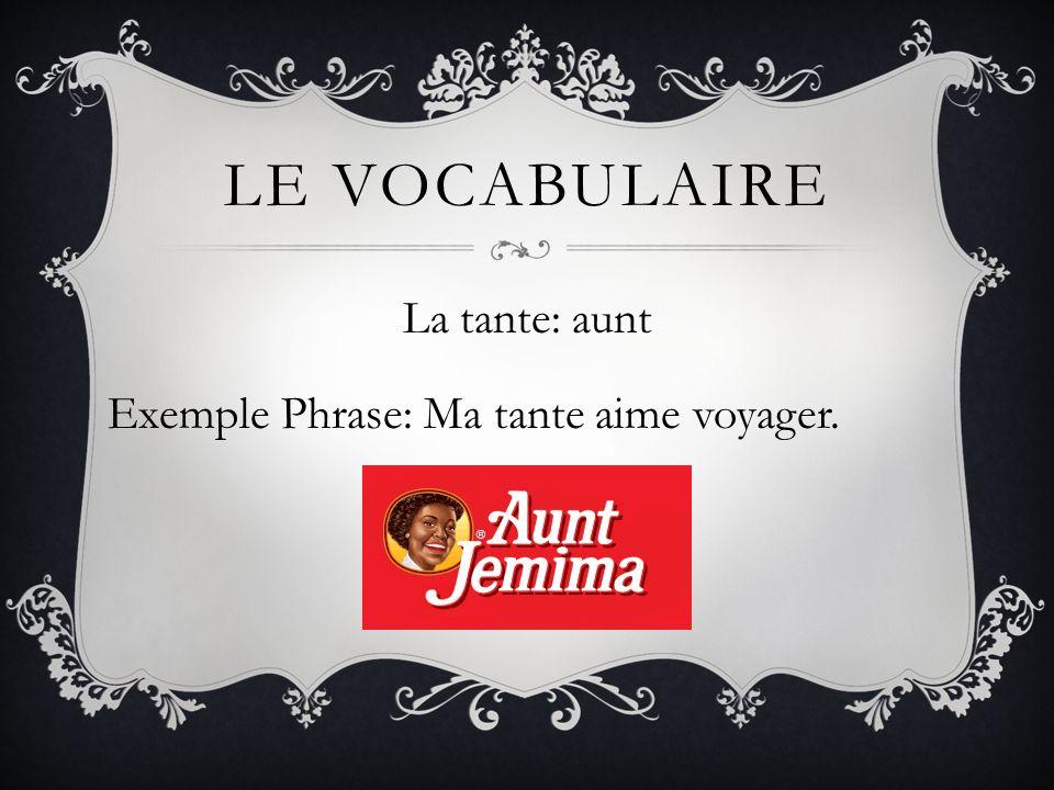 La tante: aunt Exemple Phrase: Ma tante aime voyager.