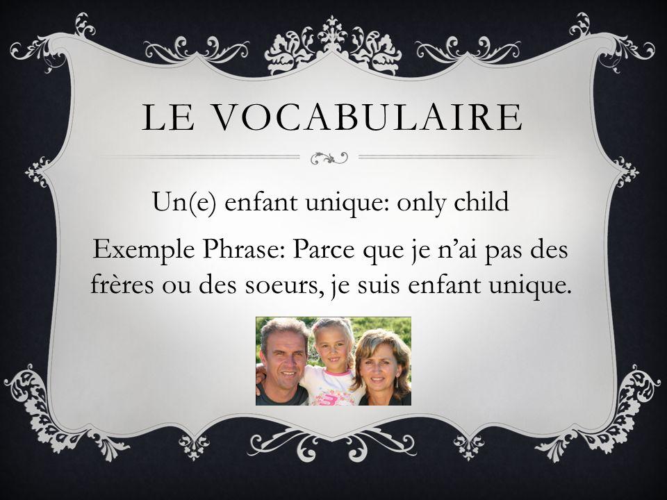 Le vocabulaire Un(e) enfant unique: only child Exemple Phrase: Parce que je n'ai pas des frères ou des soeurs, je suis enfant unique.