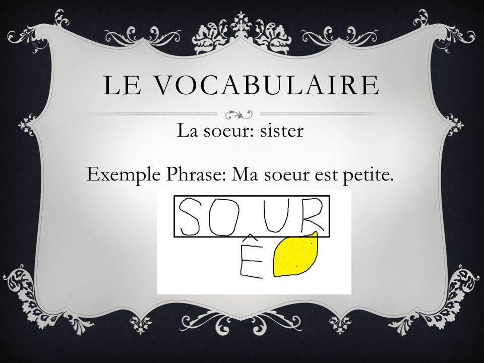 La soeur: sister Exemple Phrase: Ma soeur est petite.