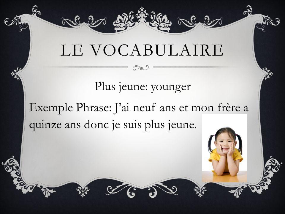 Le vocabulaire Plus jeune: younger Exemple Phrase: J'ai neuf ans et mon frère a quinze ans donc je suis plus jeune.