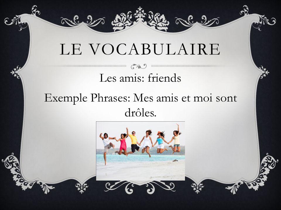 Les amis: friends Exemple Phrases: Mes amis et moi sont drôles.