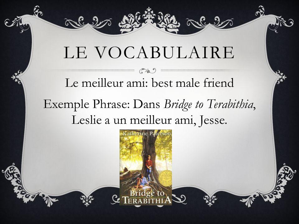 Le vocabulaire Le meilleur ami: best male friend Exemple Phrase: Dans Bridge to Terabithia, Leslie a un meilleur ami, Jesse.