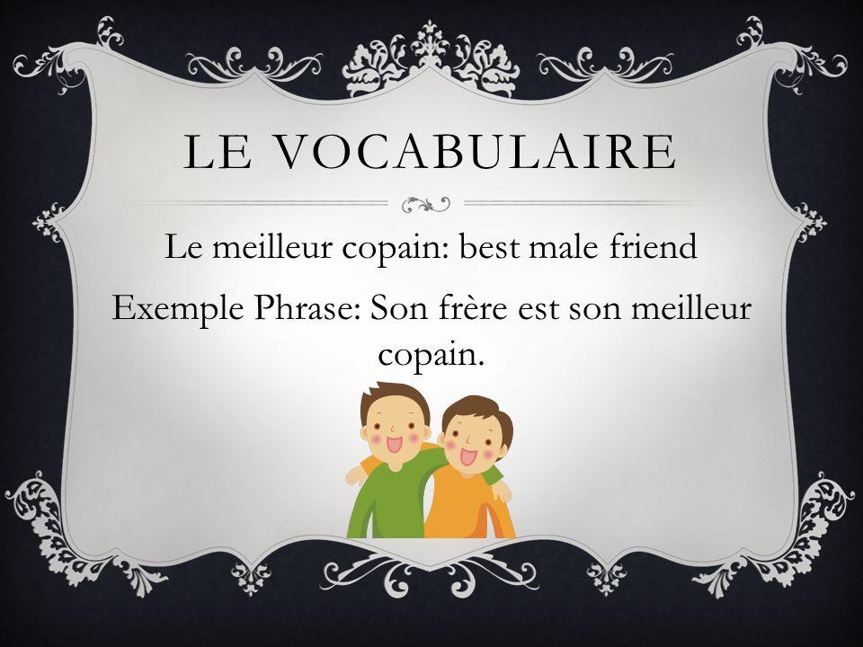 Le vocabulaireLe meilleur copain: best male friend Exemple Phrase: Son frère est son meilleur copain.