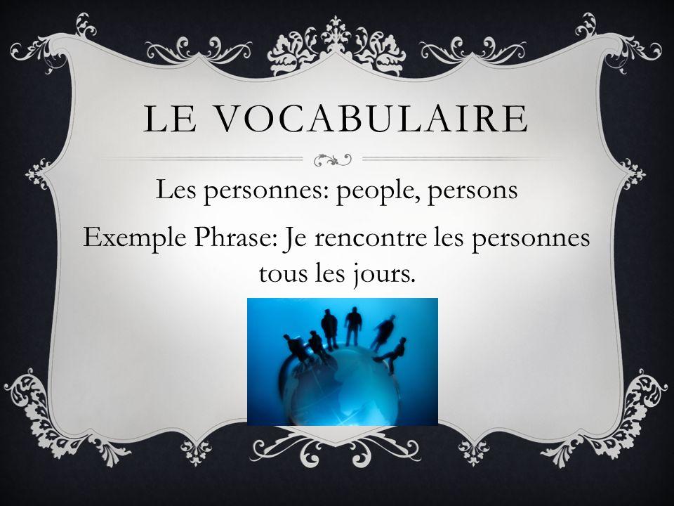 Le vocabulaire Les personnes: people, persons Exemple Phrase: Je rencontre les personnes tous les jours.