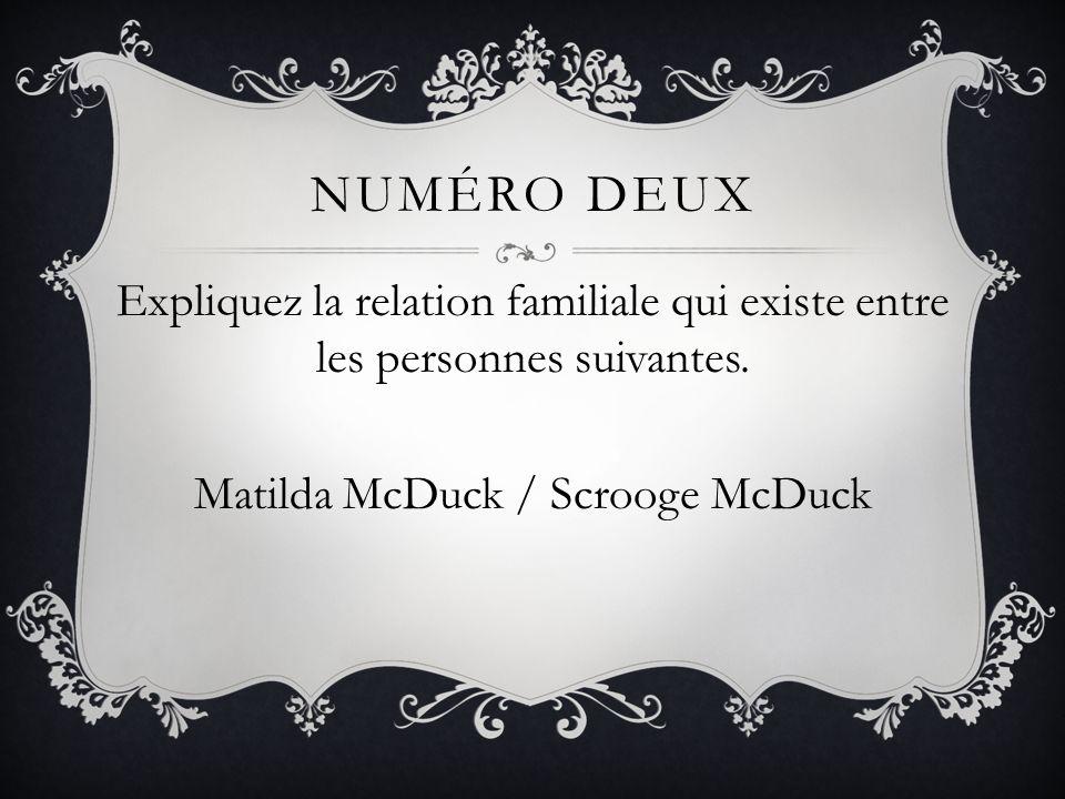 NumÉro DeuxExpliquez la relation familiale qui existe entre les personnes suivantes.