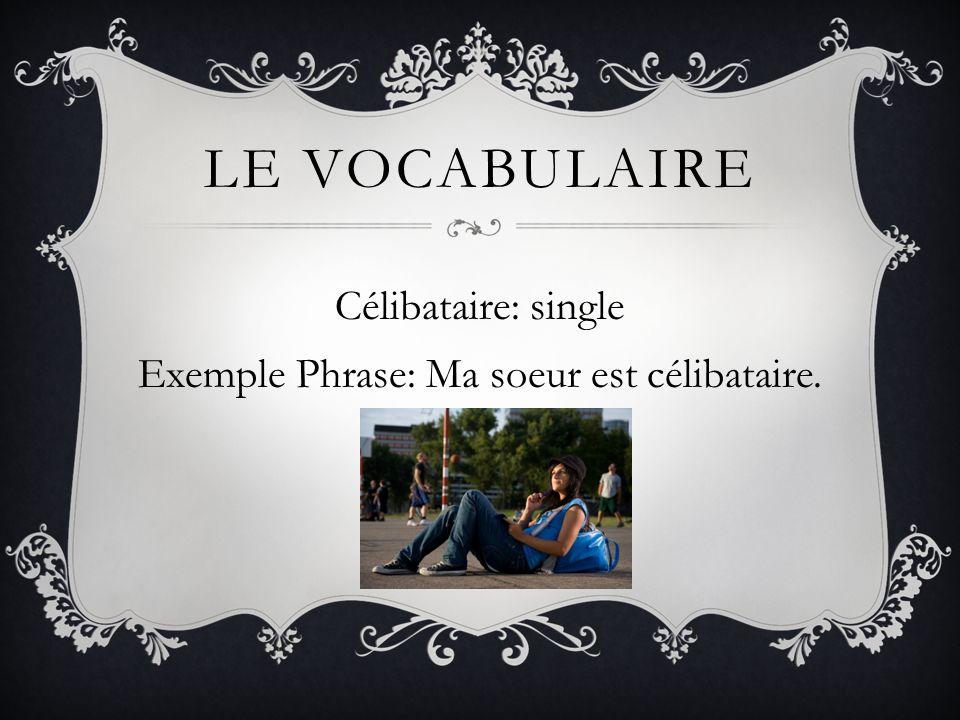 Célibataire: single Exemple Phrase: Ma soeur est célibataire.