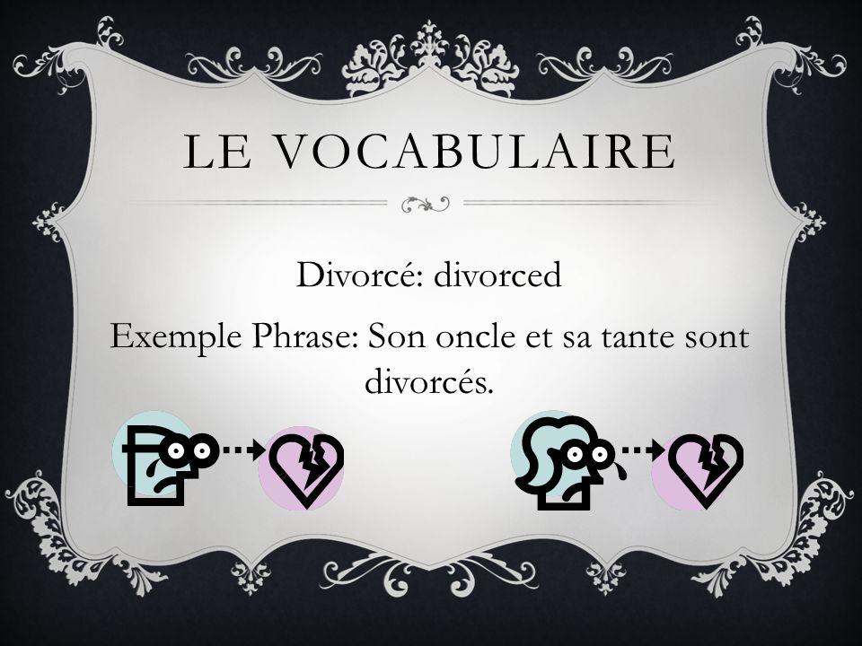 Divorcé: divorced Exemple Phrase: Son oncle et sa tante sont divorcés.
