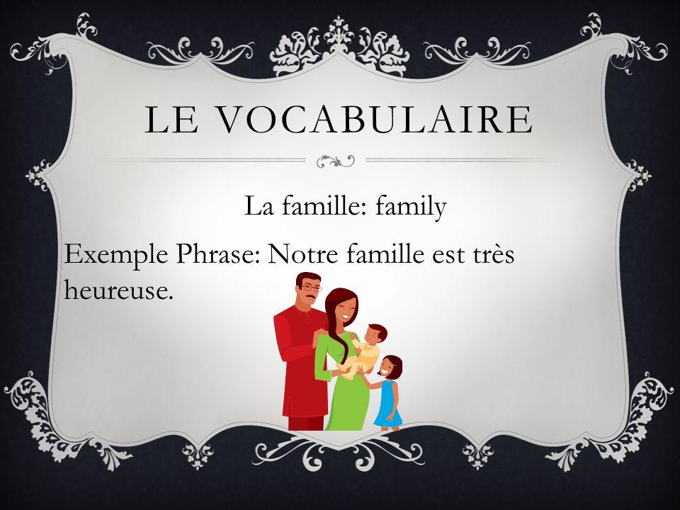 La famille: family Exemple Phrase: Notre famille est très heureuse.