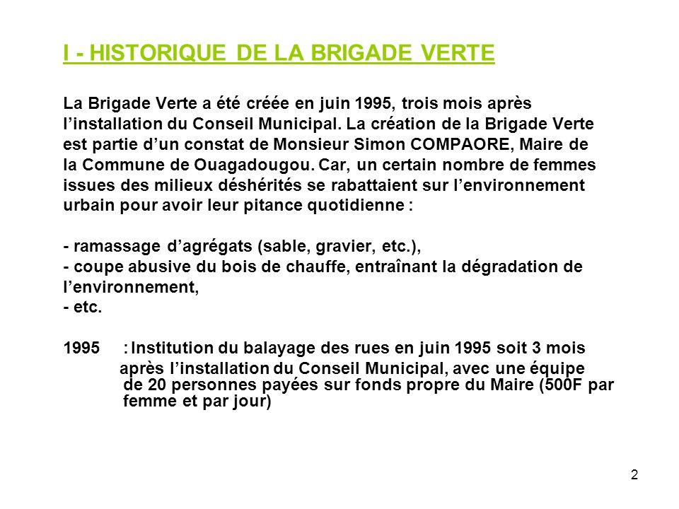 I - HISTORIQUE DE LA BRIGADE VERTE