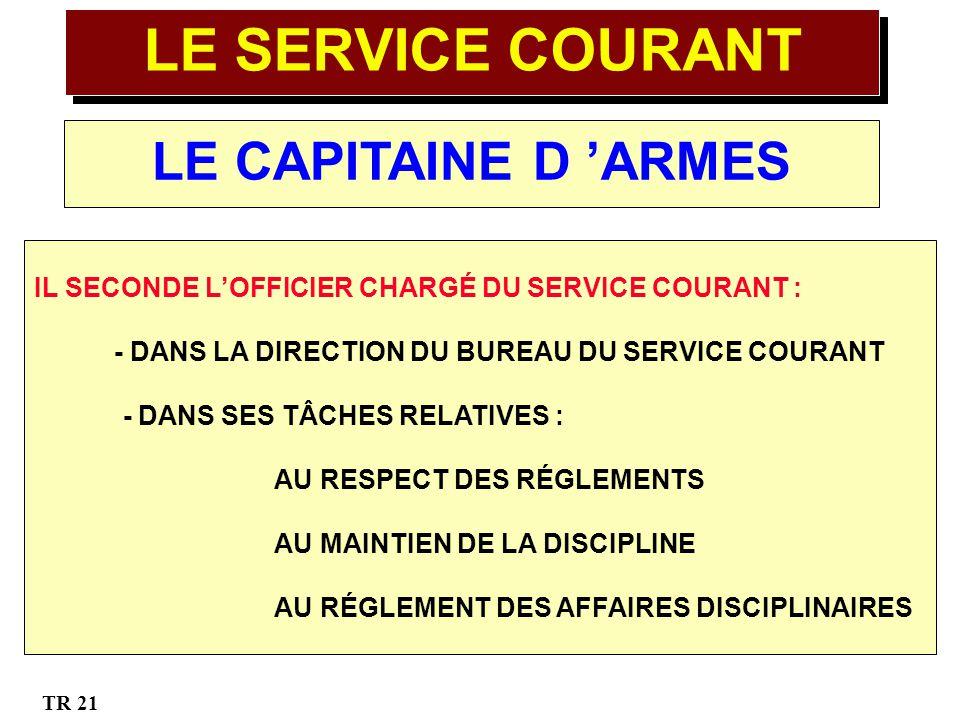 LE SERVICE COURANT LE CAPITAINE D 'ARMES