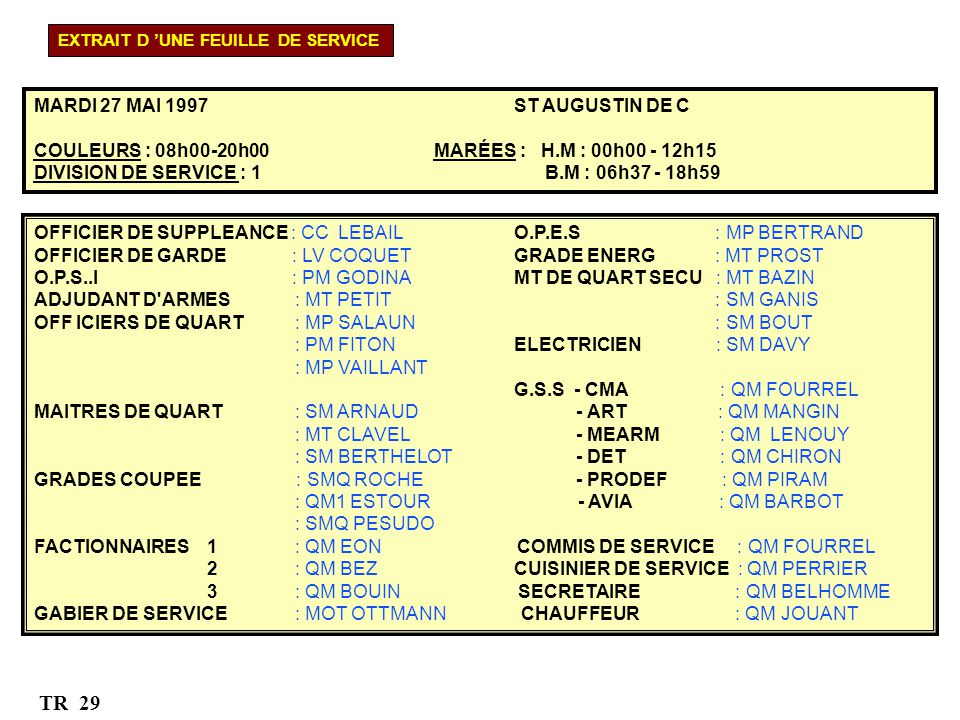 TR 29 MARDI 27 MAI 1997 ST AUGUSTIN DE C