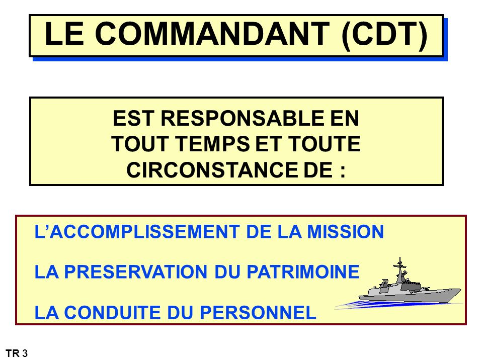 LE COMMANDANT (CDT) EST RESPONSABLE EN TOUT TEMPS ET TOUTE