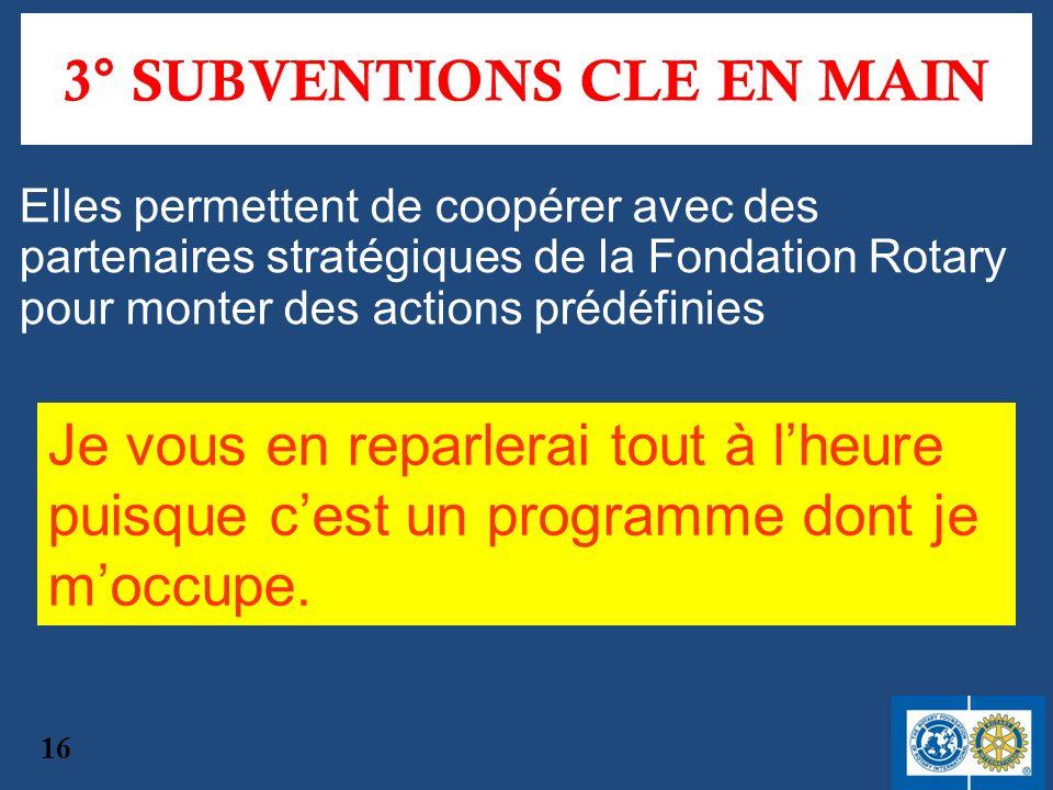 3° SUBVENTIONS CLE EN MAIN