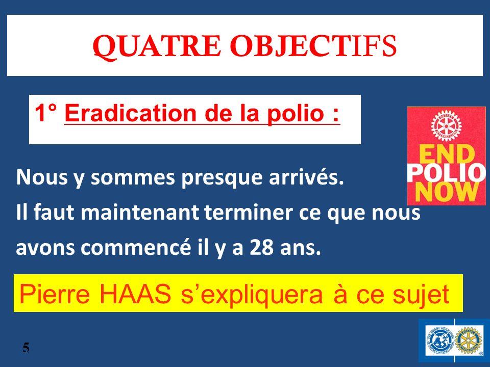 QUATRE OBJECTIFS Pierre HAAS s'expliquera à ce sujet