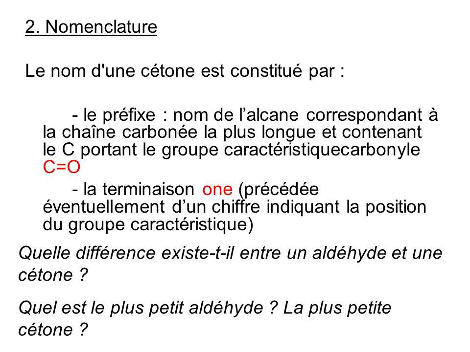 2. Nomenclature Le nom d une cétone est constitué par :
