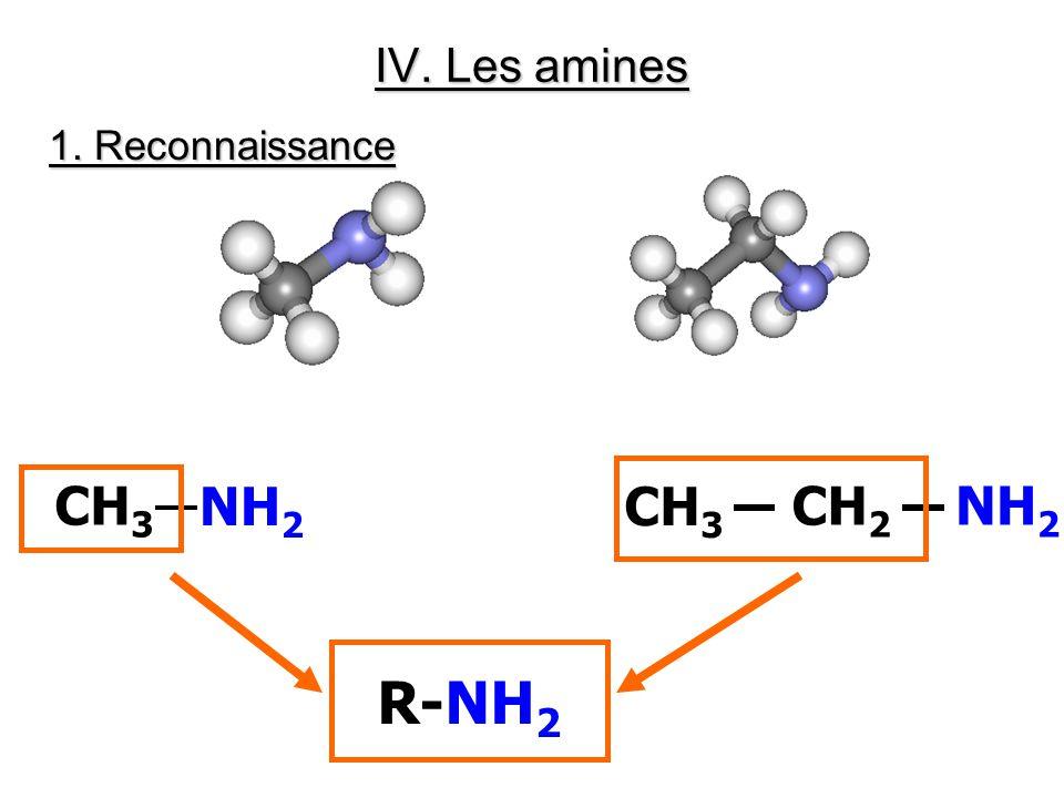 IV. Les amines 1. Reconnaissance CH3 NH2 CH3 CH2 NH2 R-NH2
