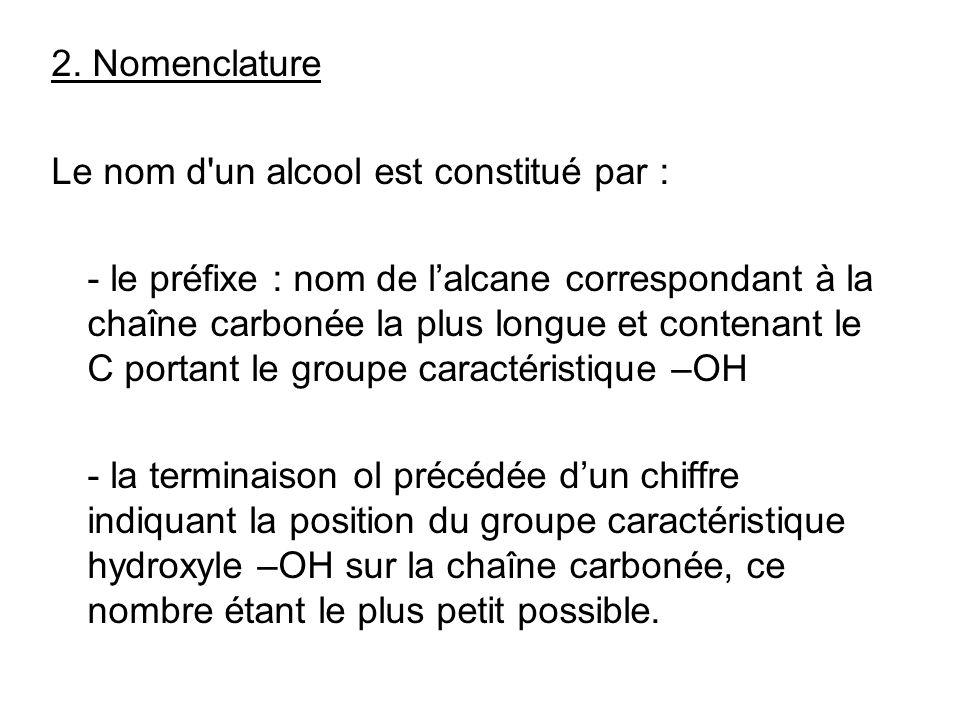 2. Nomenclature Le nom d un alcool est constitué par :