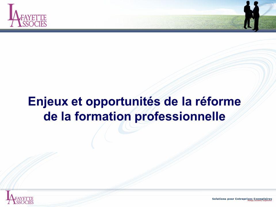 Enjeux et opportunités de la réforme de la formation professionnelle