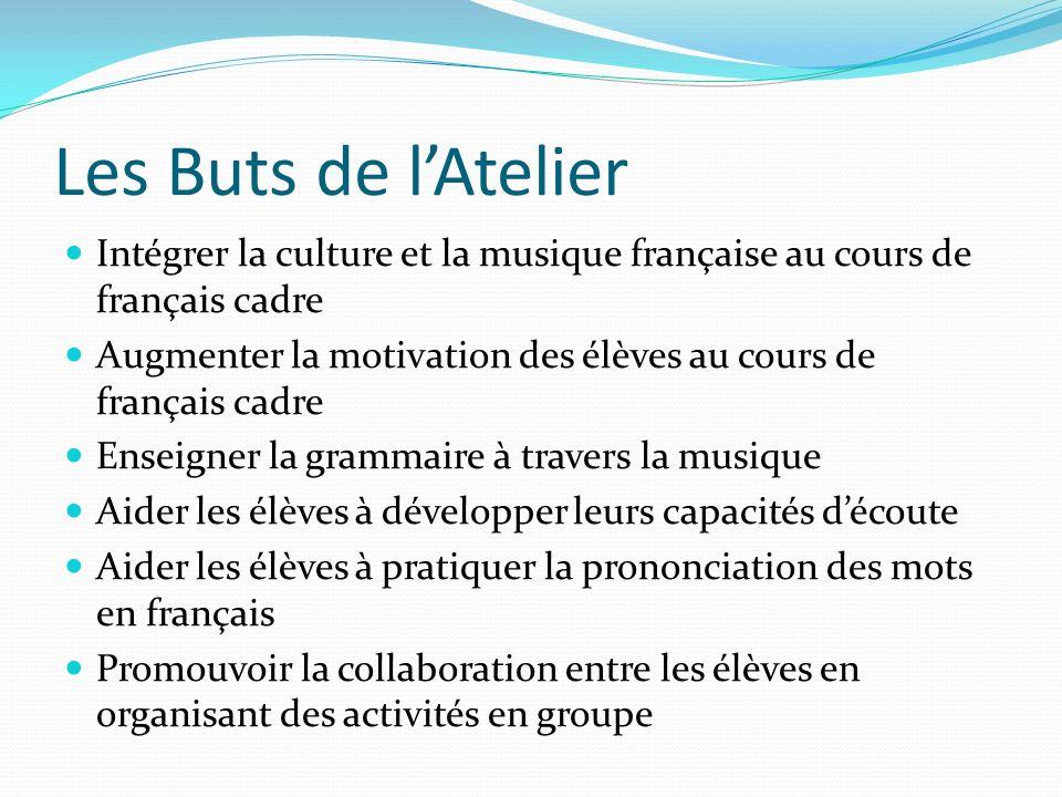 Les Buts de l'Atelier Intégrer la culture et la musique française au cours de français cadre.