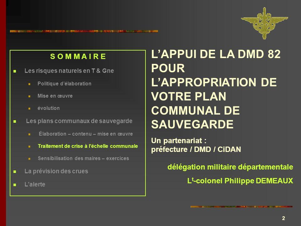 L'APPUI DE LA DMD 82 POUR L'APPROPRIATION DE VOTRE PLAN COMMUNAL DE SAUVEGARDE