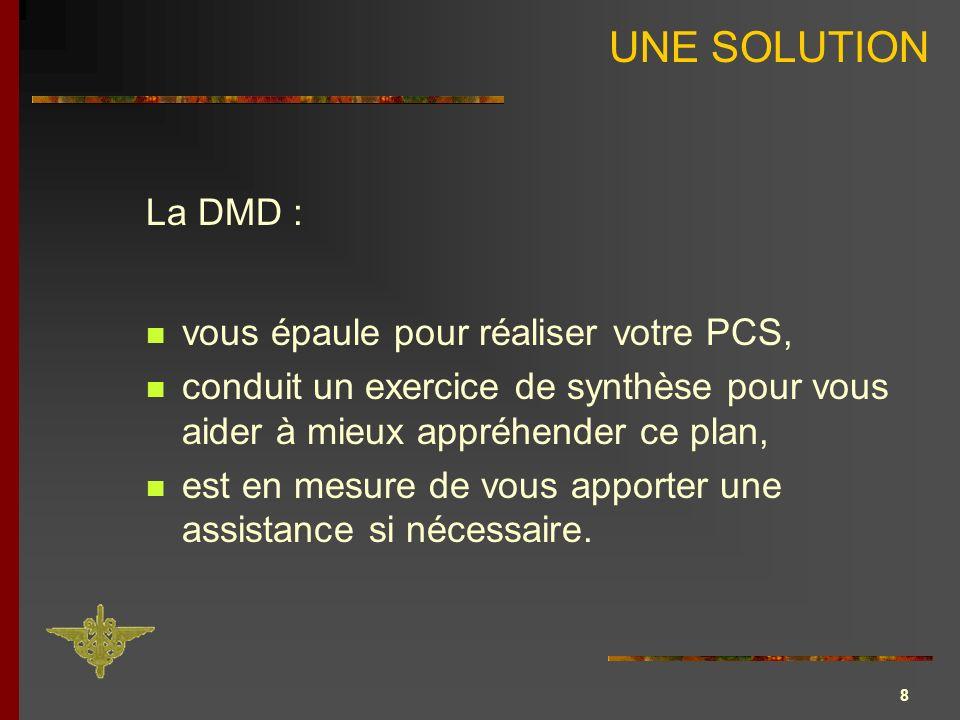 UNE SOLUTION La DMD : vous épaule pour réaliser votre PCS,