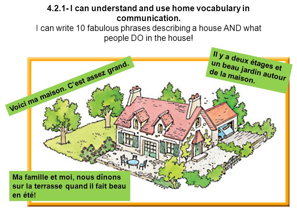 I can understand and use home vocabulary in communication