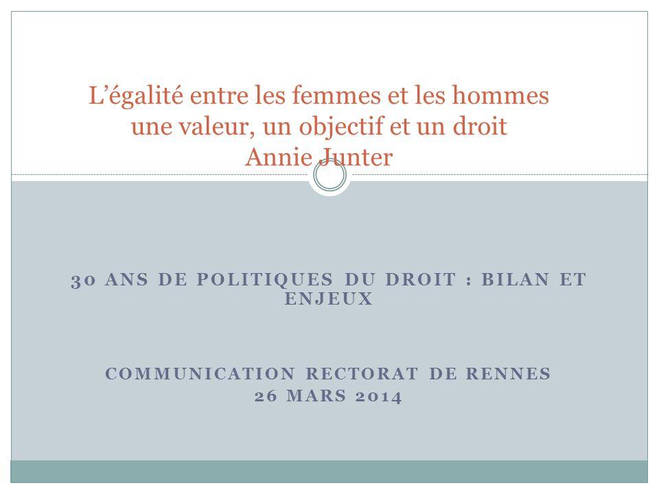 L'égalité entre les femmes et les hommes une valeur, un objectif et un droit Annie Junter