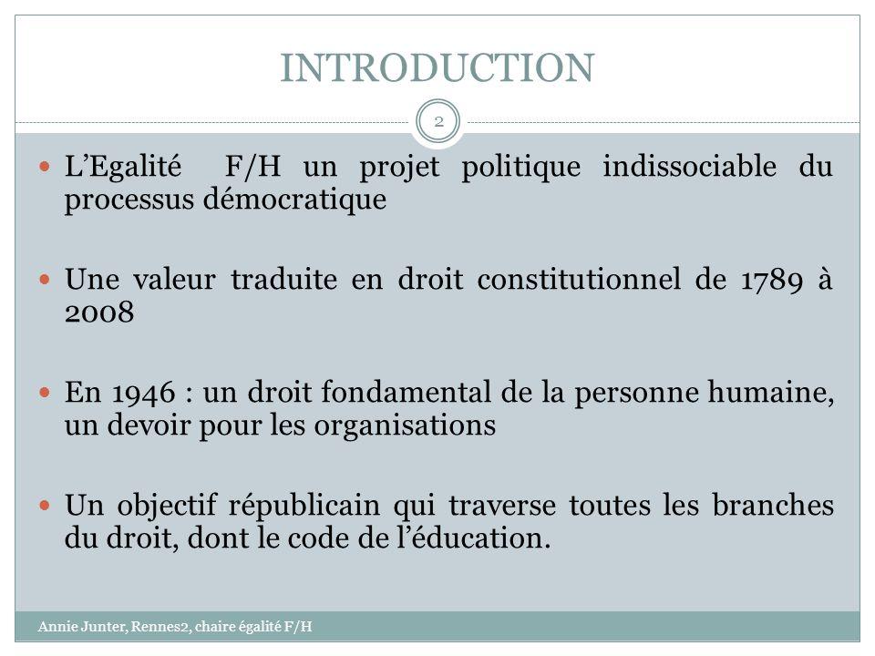 INTRODUCTION L'Egalité F/H un projet politique indissociable du processus démocratique. Une valeur traduite en droit constitutionnel de 1789 à 2008.