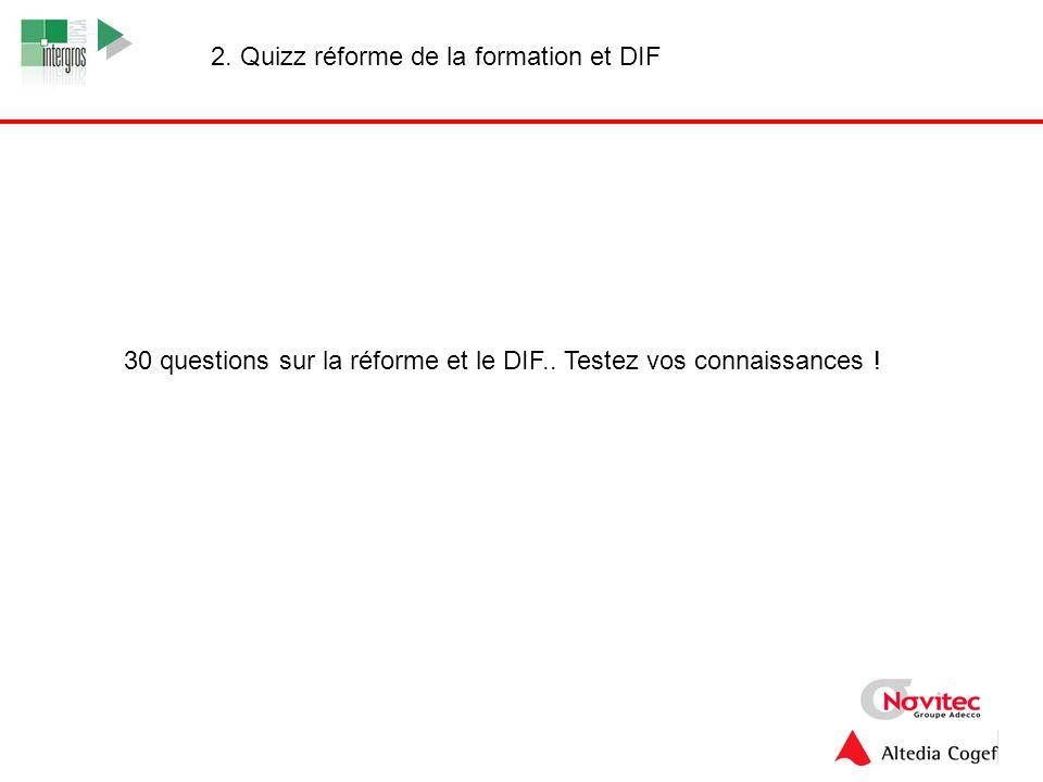 2. Quizz réforme de la formation et DIF
