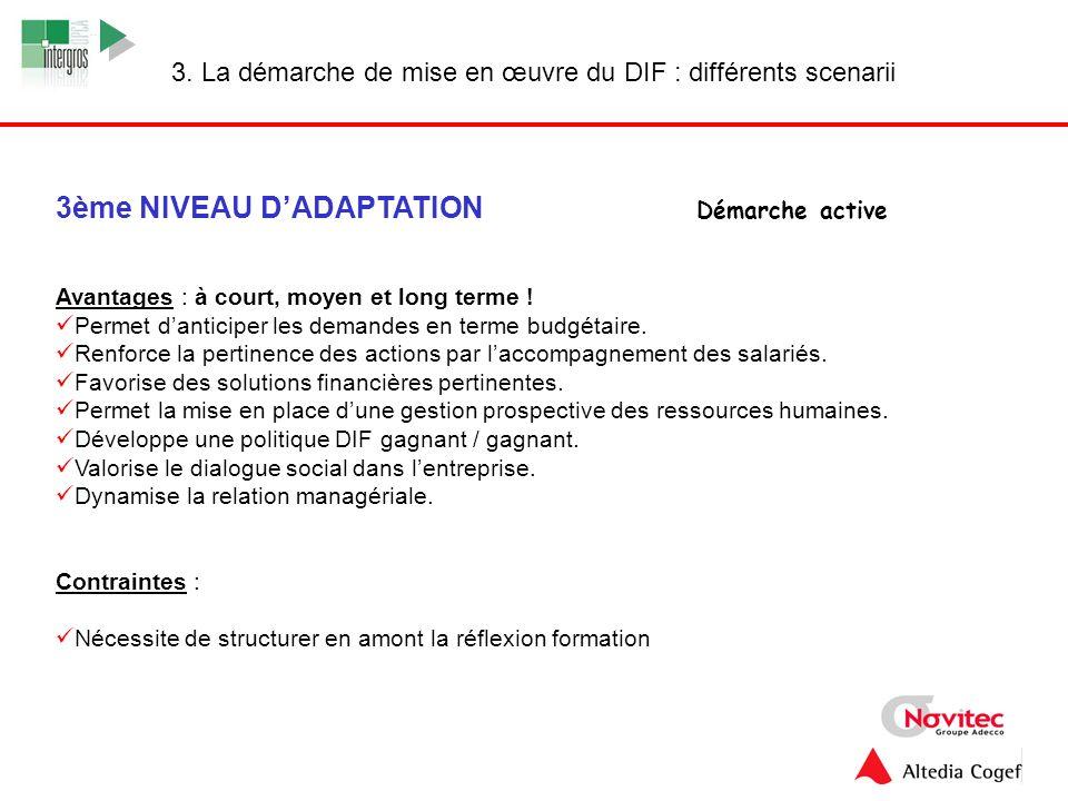 3ème NIVEAU D'ADAPTATION Démarche active