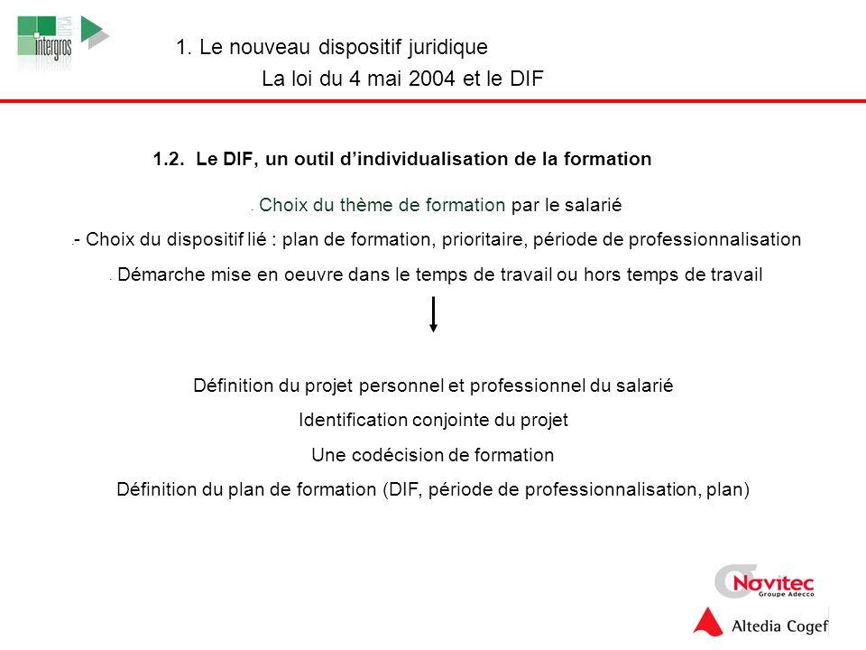 1.2. Le DIF, un outil d'individualisation de la formation