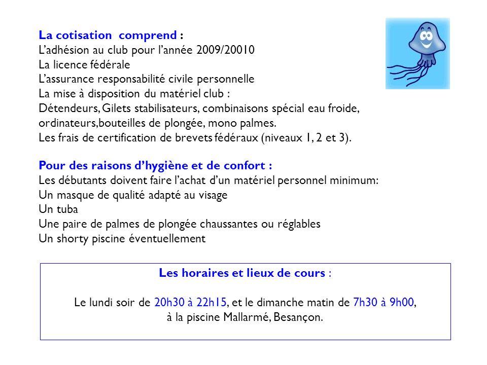 Les horaires et lieux de cours :