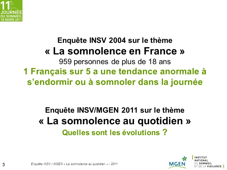 « La somnolence en France » « La somnolence au quotidien »