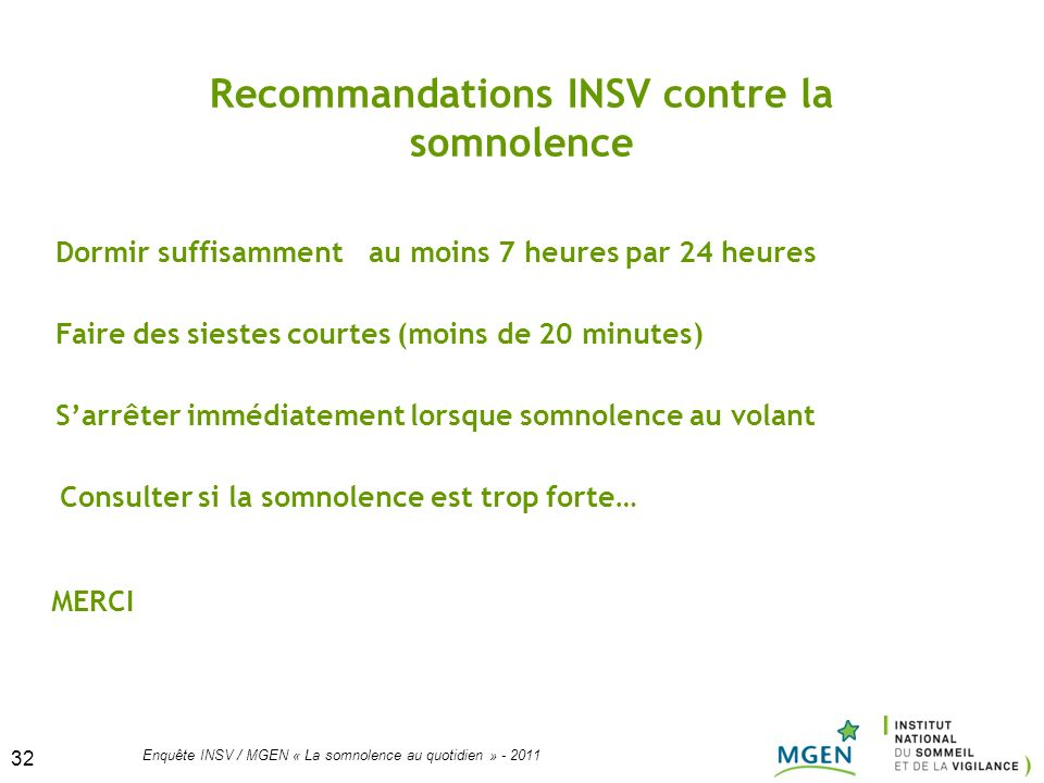 Recommandations INSV contre la somnolence
