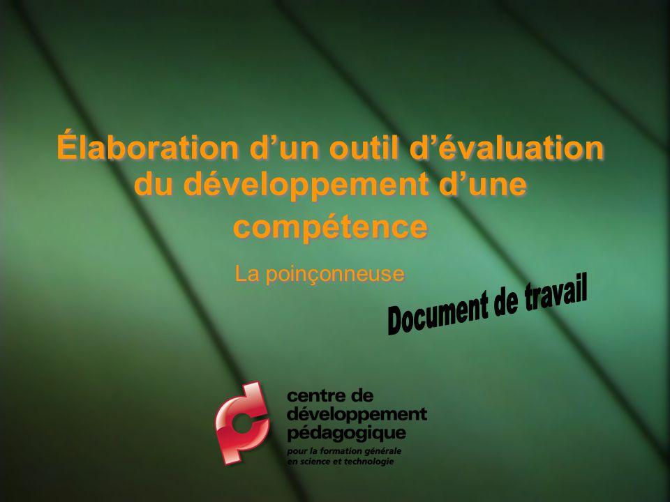 Élaboration d'un outil d'évaluation du développement d'une compétence
