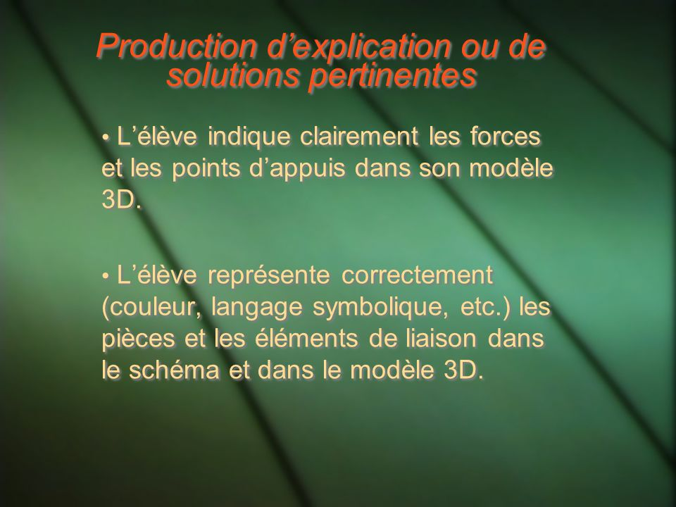 Production d'explication ou de solutions pertinentes
