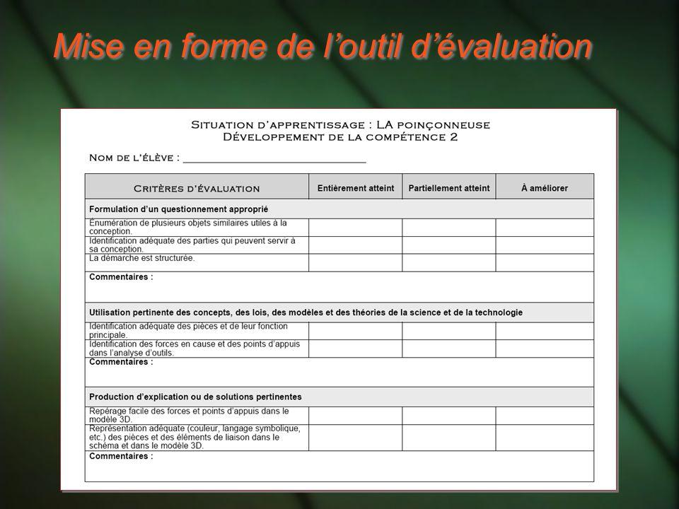 Mise en forme de l'outil d'évaluation