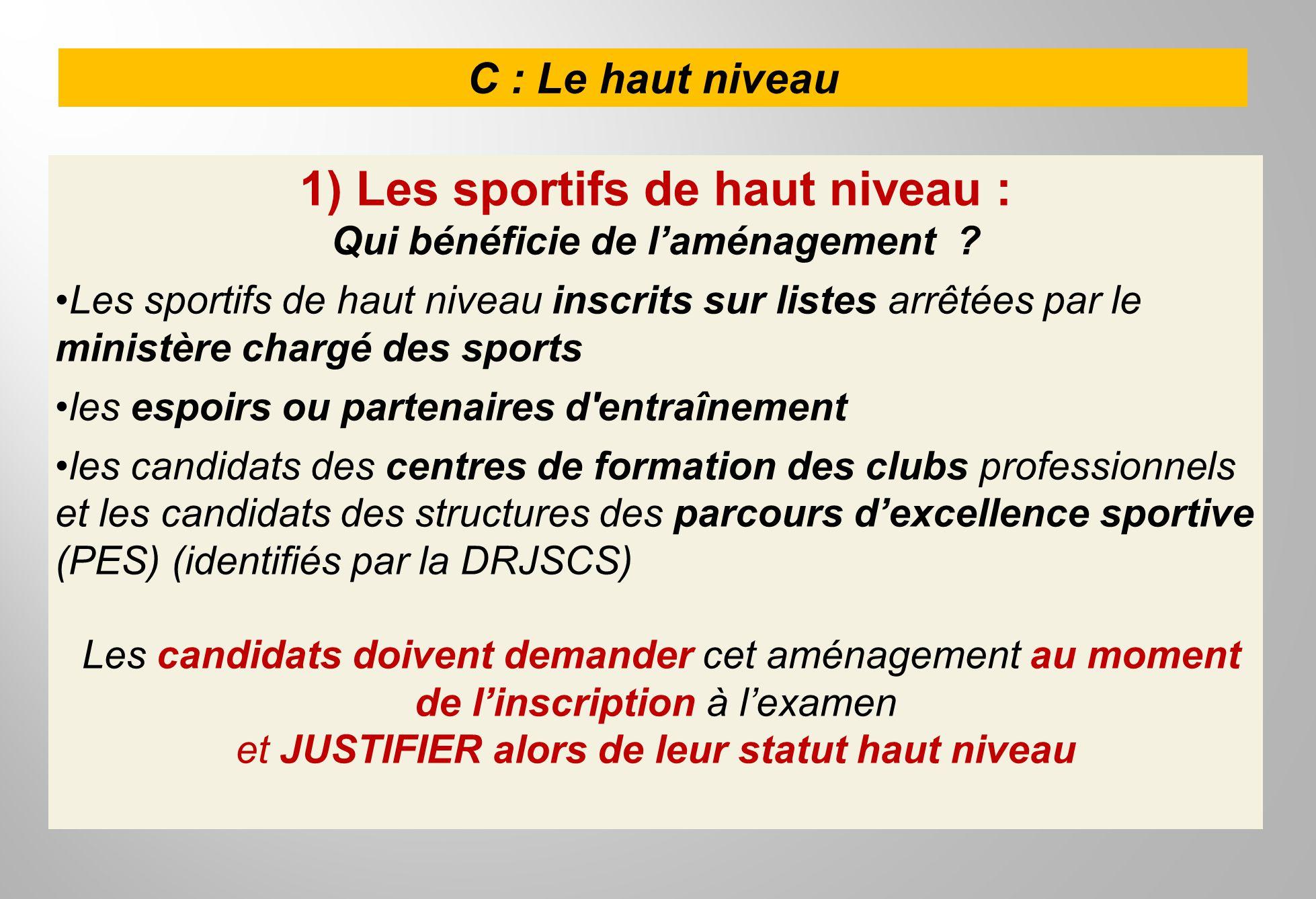 1) Les sportifs de haut niveau : Qui bénéficie de l'aménagement