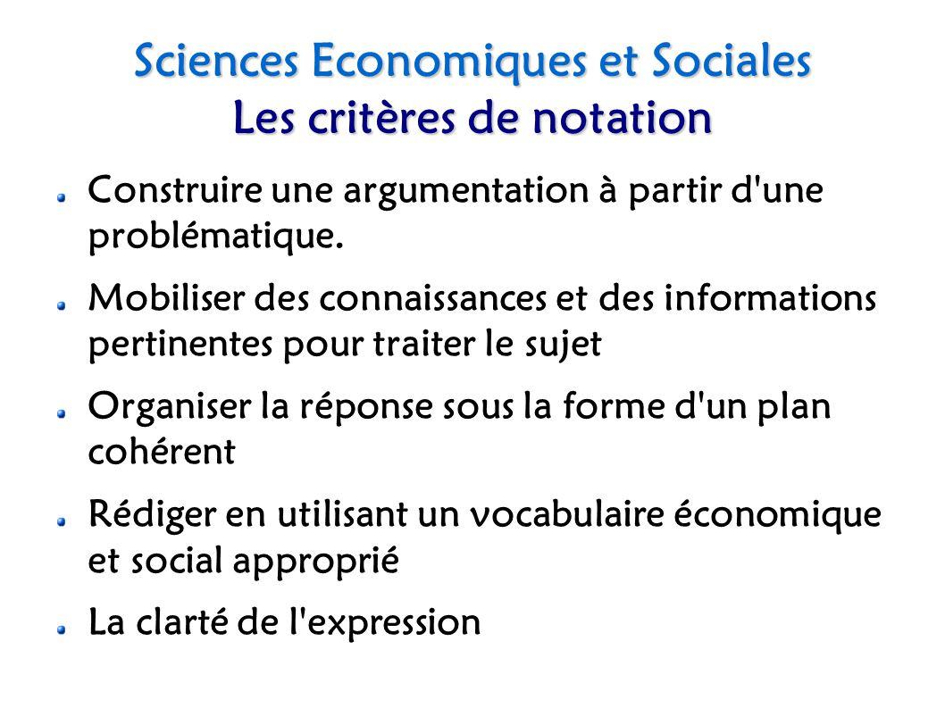 Sciences Economiques et Sociales Les critères de notation