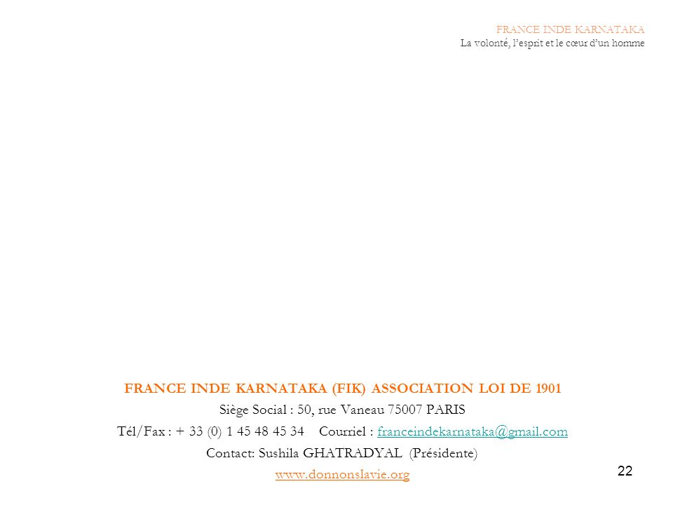 FRANCE INDE KARNATAKA (FIK) ASSOCIATION LOI DE 1901
