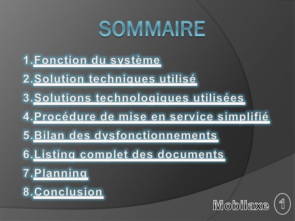 Sommaire 1 Mobilaxe Fonction du système Solution techniques utilisé