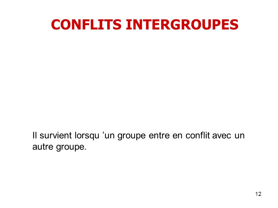 CONFLITS INTERGROUPES