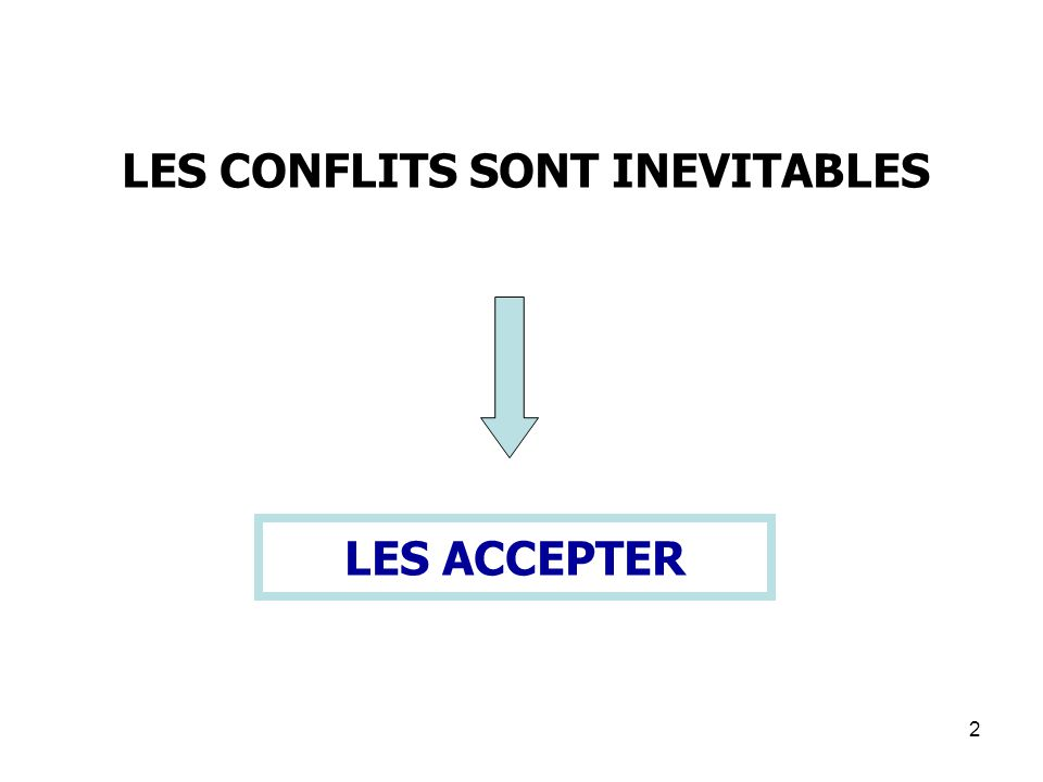LES CONFLITS SONT INEVITABLES