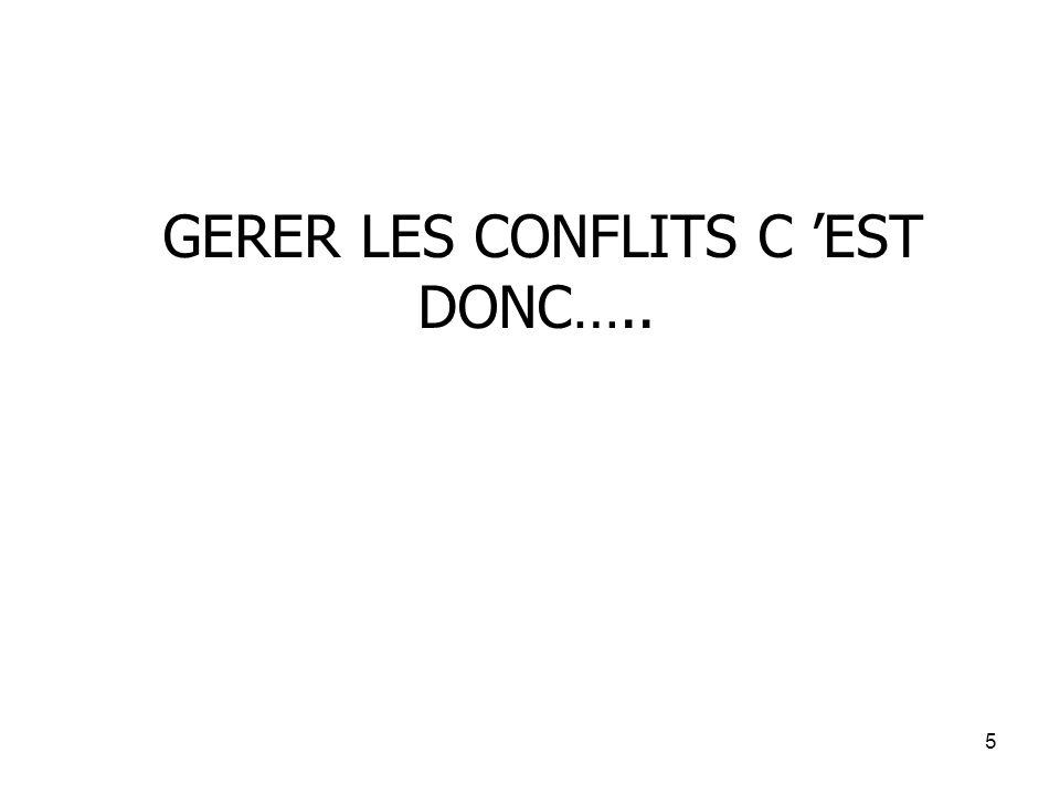 GERER LES CONFLITS C 'EST DONC…..