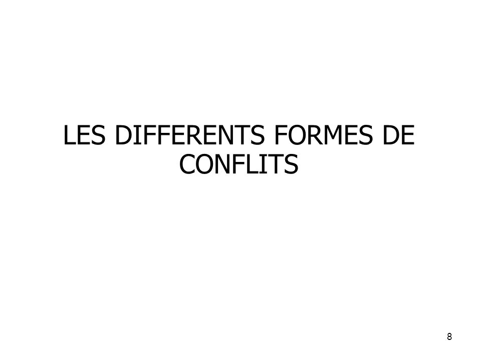 LES DIFFERENTS FORMES DE CONFLITS