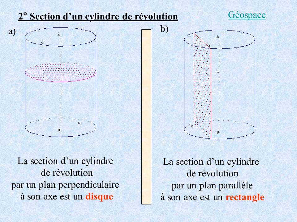 2° Section d'un cylindre de révolution Géospace b) a)