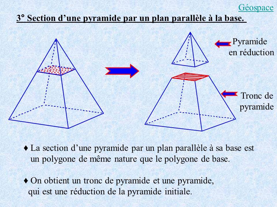 Géospace 3° Section d'une pyramide par un plan parallèle à la base. Pyramide. en réduction. Tronc de.