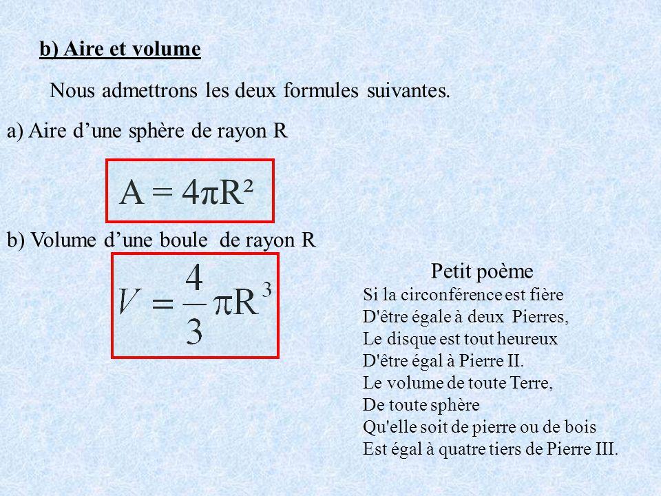 b) Aire et volume Nous admettrons les deux formules suivantes. a) Aire d'une sphère de rayon R. A = 4πR².