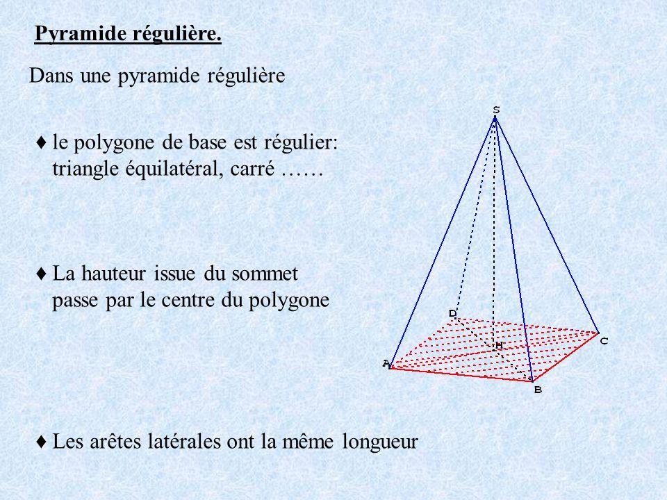 Pyramide régulière. Dans une pyramide régulière. ♦ le polygone de base est régulier: triangle équilatéral, carré ……