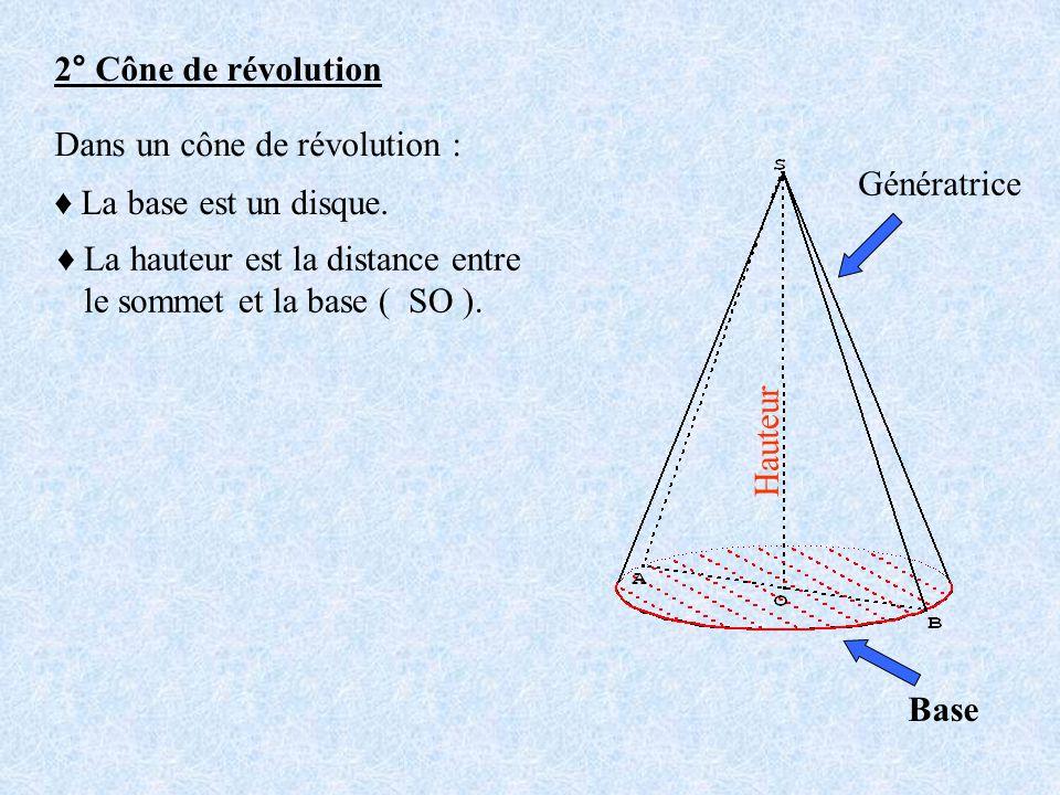 2° Cône de révolution Dans un cône de révolution : Génératrice. ♦ La base est un disque. ♦ La hauteur est la distance entre.